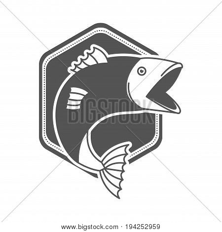 monochrome silhouette emblem with fish bigmouth vector illustration