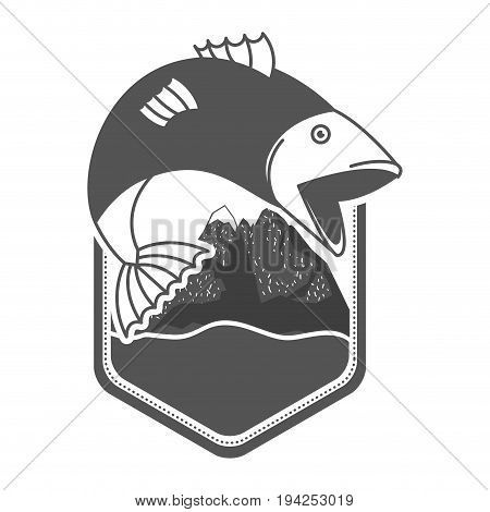 monochrome silhouette emblem mountains and river with fish bigmouth jumping outside vector illustration