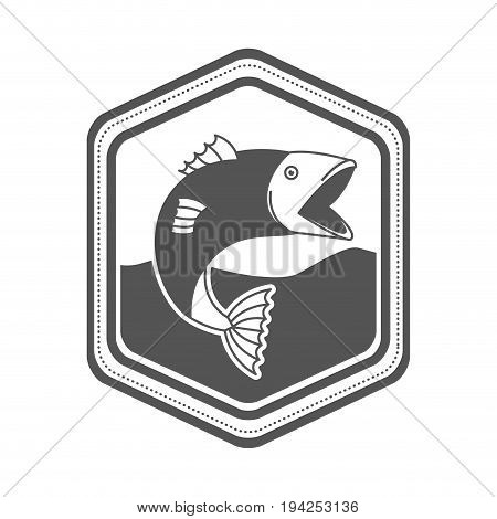 monochrome silhouette of diamond shape emblem with fish bigmouth in the river vector illustration