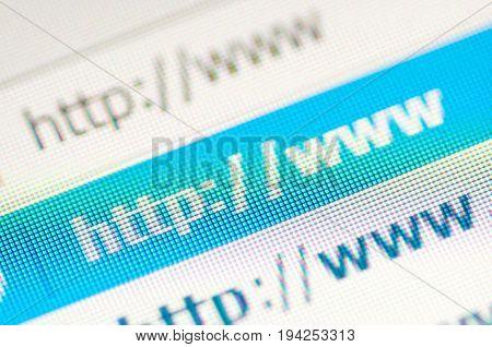 Macro shot of http link website address