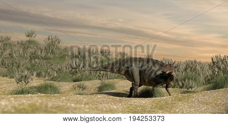 3d rendering of the shuangmiaosaurus standing on grassy terrain