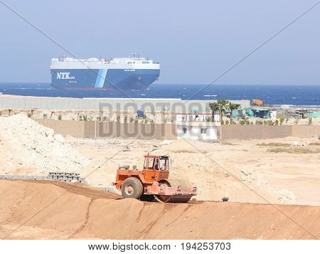Sharm El Sheikh Egypt - October 14 2012: Nippon Yusen Kabushiki Kaisha (NYK LINE) cargo ship crossing the Gulf of Aqaba.