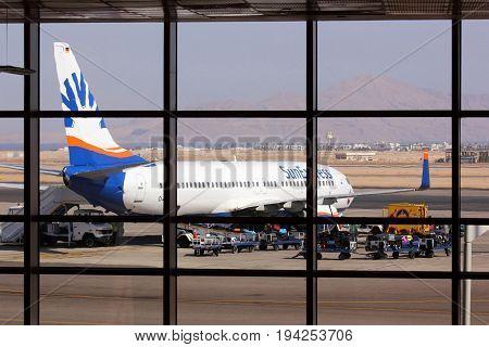 SHARM EL SHEIKH EGYPT - OCTOBER 2012: SunExpress Airlines Boeing 737 at Sharm El Sheikh International Airport (SSH) on October 16 2012 in Sharm El Sheikh Egypt.