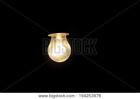 Electric light bulb on the dark background