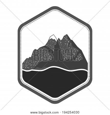 monochrome silhouette of diamond shape emblem with moutain and river vector illustration