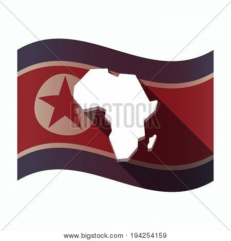 Long Shadow North Korea Flag With  A Map Of The African Continent