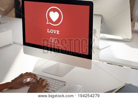 Love Heart Website Connection Homepage Concept