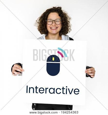 Wireless Mouse Connect Interactive Digital Technology Word Graphic