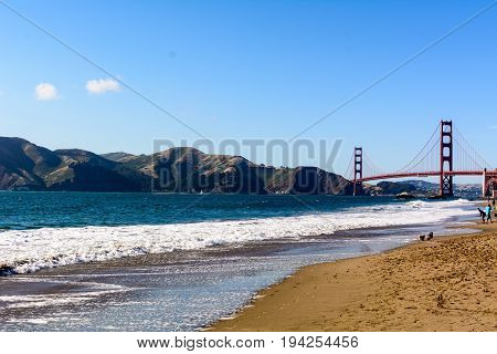 Golden Gate Bridge and Marin Headlands from Baker Beach in San Francisco on a summer afternoon