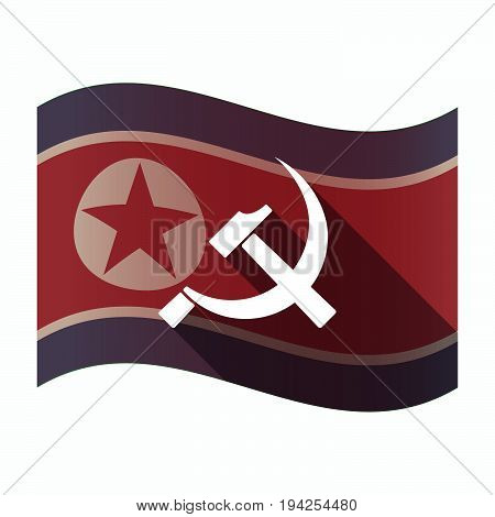 Long Shadow North Korea Flag With  The Communist Symbol