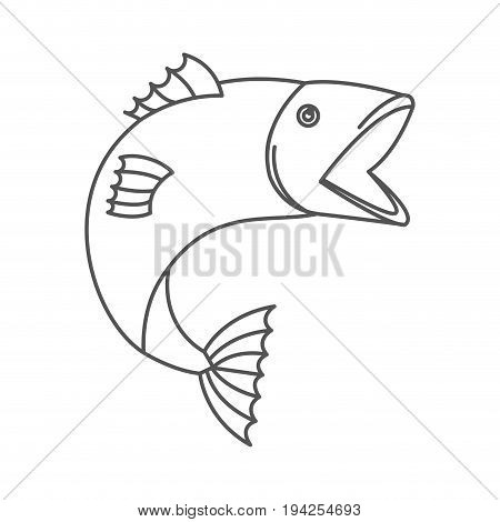 sketch silhouette of open mouth trout fish vector illustration