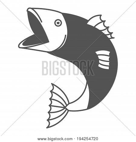 monochrome silhouette of open mouth trout fish vector illustration