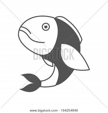 monochrome silhouette of bass fish vector illustration