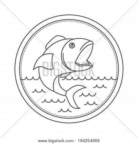 sketch silhouette of circular emblem with waves of sea and open mouth fish vector illustration