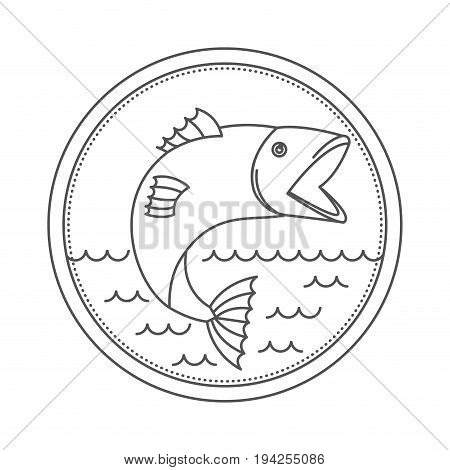 sketch silhouette of circular emblem with waves of sea and open mouth trout fish vector illustration