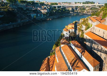 Douro river and Vila Nova de Gaia from Dom Luis I bridge, Porto, Portugal.