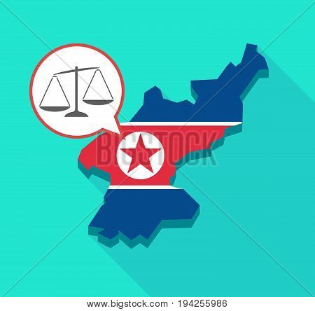 Long Shadow North Korea Map With  An Unbalanced Weight Scale