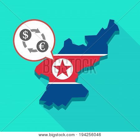 Long Shadow North Korea Map With A Dollar Euro Exchange Sign