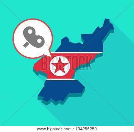 Long Shadow North Korea Map With A Toy Crank