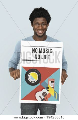 Man holding banner of music audio passion leisure activity