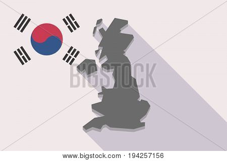 Long Shadow South Korea Flag With  A Map Of The Uk