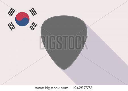 Long Shadow South Korea Flag With A Plectrum
