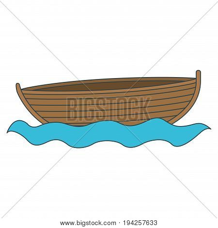 colorful silhouette wooden fishing boat in river vector illustration