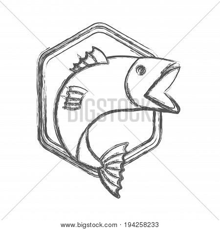blurred sketch silhouette emblem with fish bigmouth vector illustration