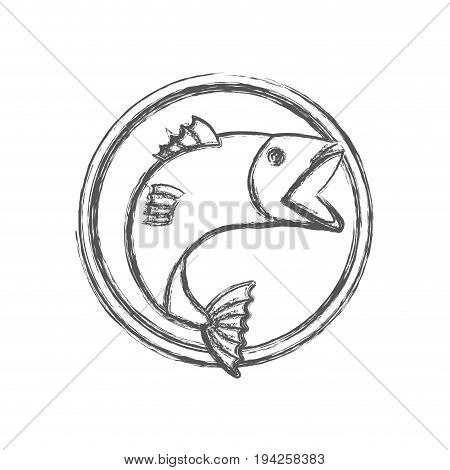 blurred sketch silhouette circular emblem with fish bigmouth vector illustration