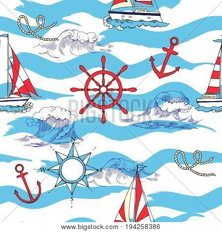Nautical seamless pattern with ships and wheels. Hand drawn elements for summer holidays.Travel, sea and ocean. Vector Illustration