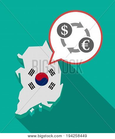 Long Shadow South Korea Map With A Dollar Euro Exchange Sign