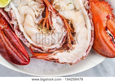 Fresh lobster with sauce and lime served on a high plate with ice