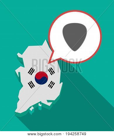 Long Shadow South Korea Map With A Plectrum