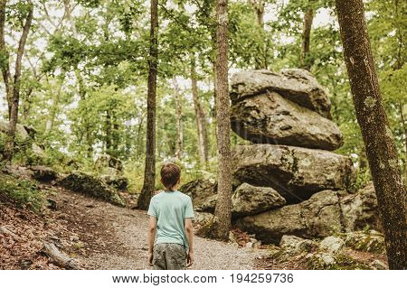 boy looks at the rocks in the forest. little traveler discovered an unusual rock. Blurred background