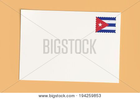 Letter Or Postcard From Cuba: Blank White Card with Cuban Flag Postage Stamp 3d Illustration On Wooden Color