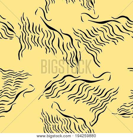 Seamless pattern with savanna animals. Hand drawn sketches. Vector Illustration