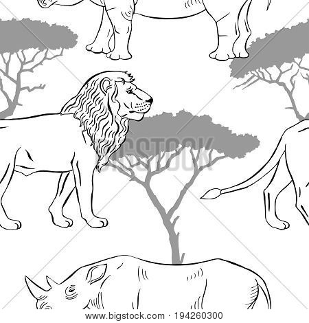 Seamless pattern with savanna animals. Hand drawn animals sketches  in safari park. Vector Illustration