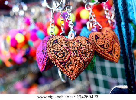 Colour full of hand made heart fabric key chain
