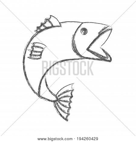 blurred sketch silhouette of open mouth trout fish vector illustration