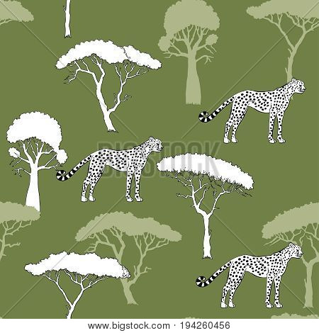 Seamless Pattern with Cheetah and savanna trees. Hand drawn sketches. Vector Illustration