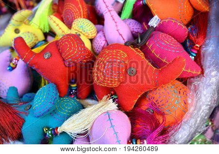 Colour full of made elephen face fabric key chain