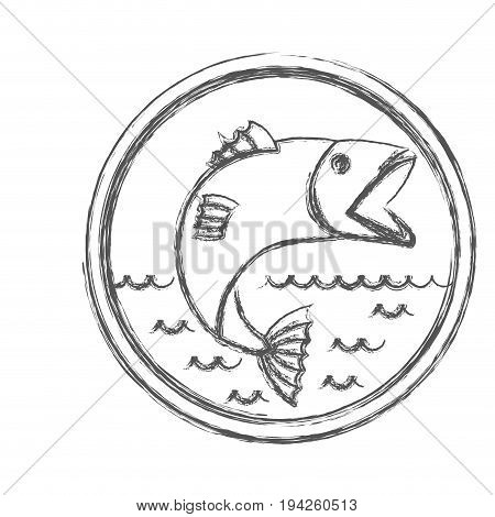 blurred sketch silhouette of circular emblem with waves of sea and open mouth trout fish vector illustration