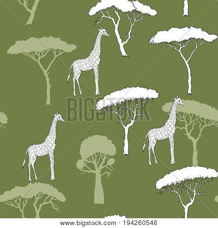 Seamless Pattern with Giraffe and savanna trees. Hand drawn sketches. Vector Illustration