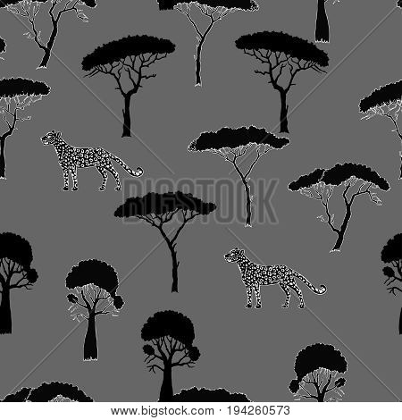 Seamless Pattern with Leopard and savanna trees. Hand drawn sketches. Vector Illustration
