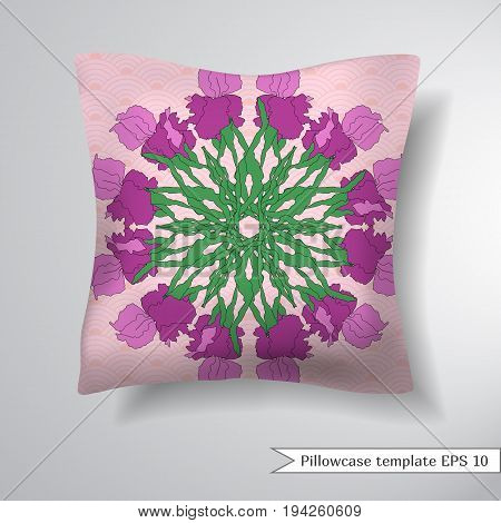 Creative sofa square pillow. Decorative pillowcase design template. Floral round pattern with hand-drawing irises. Vector illustration