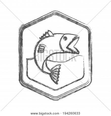 blurred sketch silhouette of diamond shape emblem with fish bigmouth in the river vector illustration