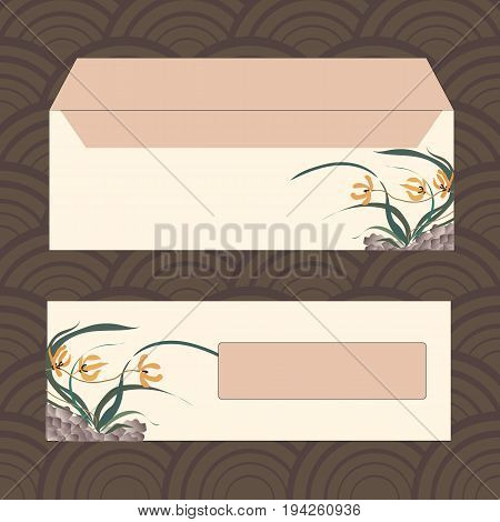 Envelopes for letters, front and back. Wild orchid growing on stones. Traditional Chinese painting, Japanese art sumi-e, vector stylization