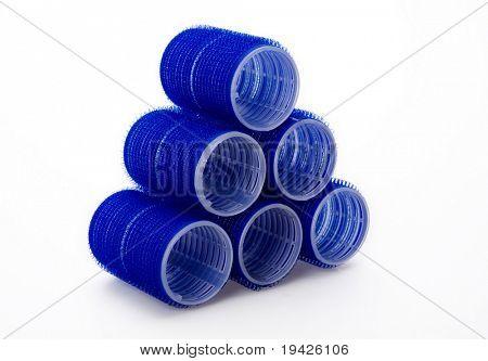 blue hair rollers