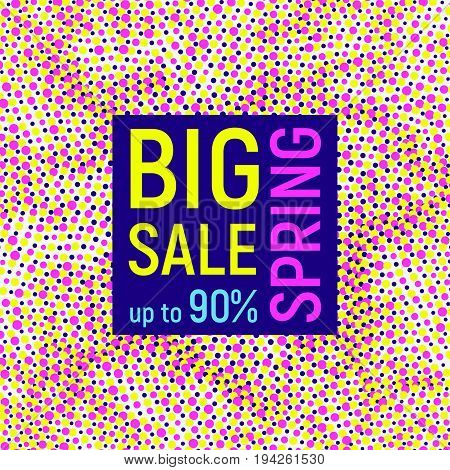 Abstract Big spring sale banner geometric background different geometric shapes - triangles circles dots lines. Memphis style. Bright and colorful neon colors 90s style. Vector illustration