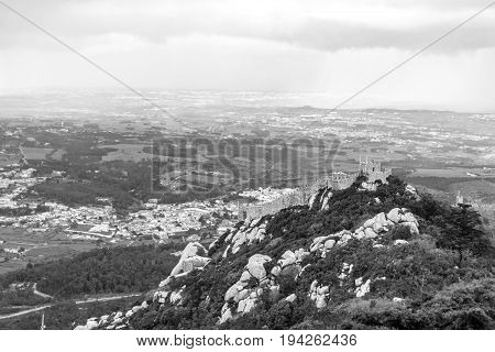 Castle Of The Moors Observed From Pena Palace In Sintra (portugal)